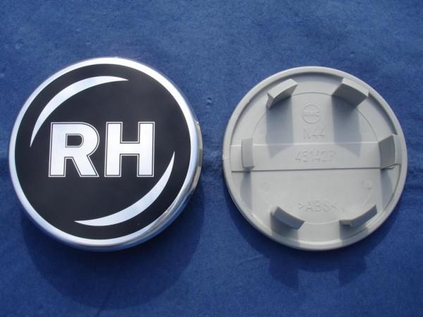 RH Nabenkappe 45654 Schwarz + Chromrand 76mm