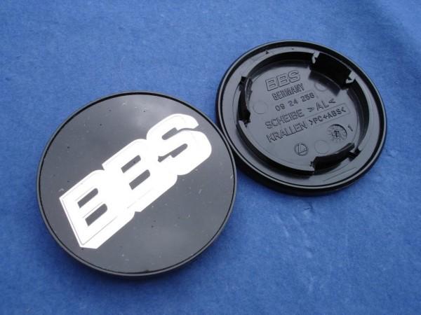 4er Set BBS Emblem Schwarz/Chrom 70mm 09.24.258 Nabenkappe, Symbolscheibe