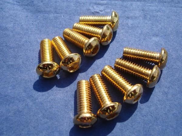 Flachkopfschraube M6x16 Edelstahl vergoldet