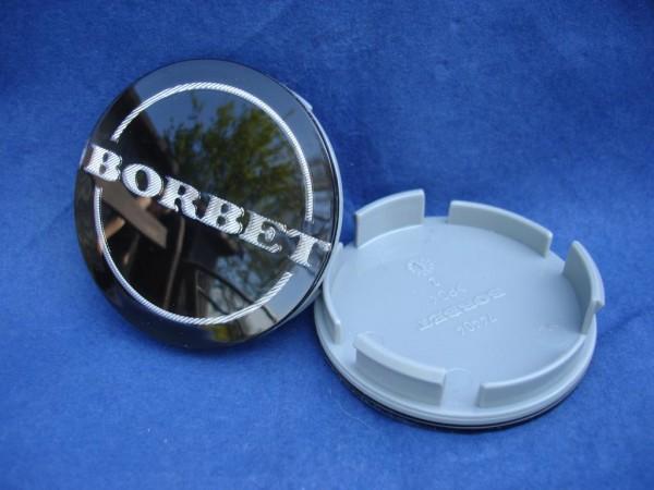 4er Set Borbet Nabenkappe 55mm Schwarz/Silber