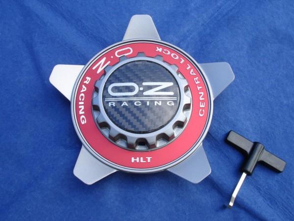 OZ Felgendeckel Grau + rot Ring 81210323 55mm Formular HLT Zentralverschluss Optik Centerlock M668
