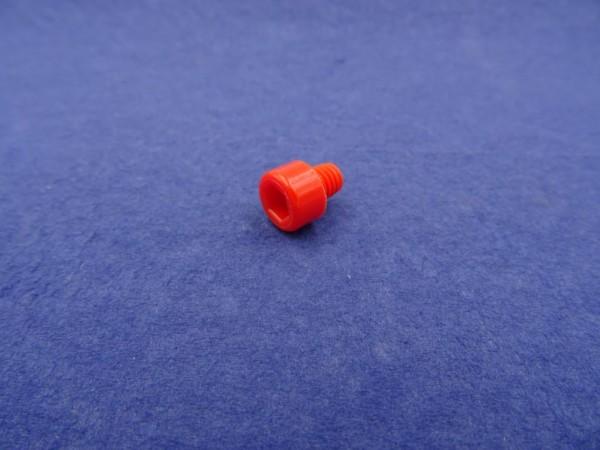 *6-kant Zierstopfen M6 Gewinde 10mm Kopf glatt rot