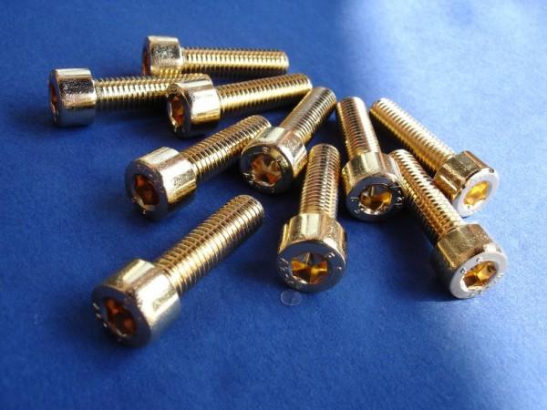 Innensechskant Schraube M8x30 Edelstahl vergoldet