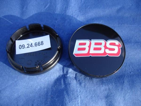 4er Set BBS Emblem Schwarz/Rot/Chrom 56mm 09.24.668 Nabenkappe, Symbolscheibe 10025114