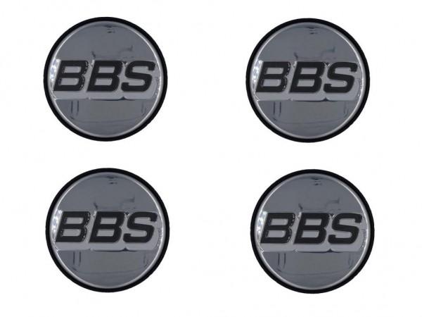 4er Set BBS Emblem Chrom/Weiß 56mm 09.24.487 Nabenkappe, Symbolscheibe 10023599