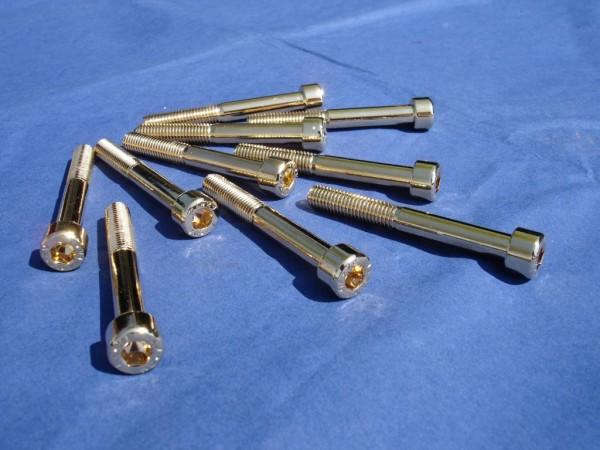 Innensechskant Schraube M8x65 Edelstahl vergoldet