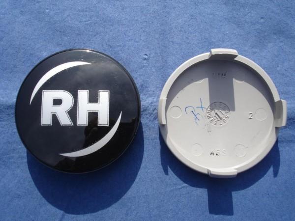 RH Nabenkappe 45165 Schwarz+ silber Schrift 62mm