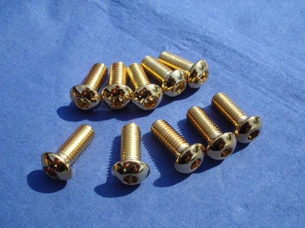 Flachkopfschraube M8x20 Edelstahl vergoldet