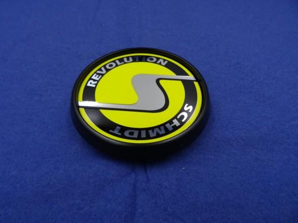 4er Set Schmidt Revolution SC3 schwarz-gelb flache Nabenkappe ersetzt SC1