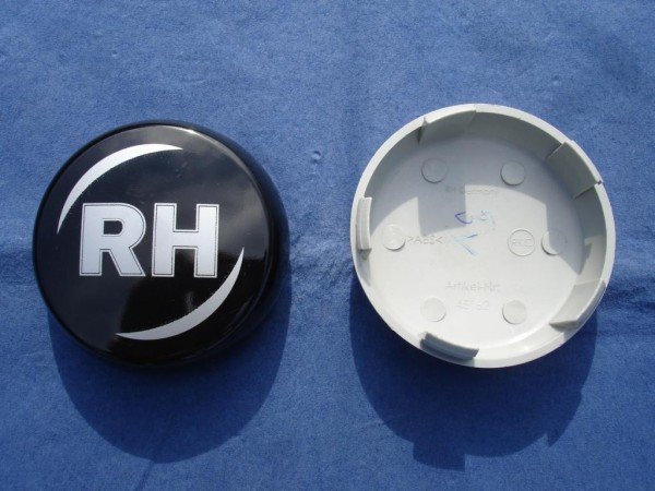 RH Nabenkappe 45162 Schwarz + Silber Schrift 62mm