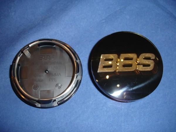 4er Set BBS Emblem Schwarz/Gold 70mm 3D 56.24.120 Nabenkappe, Symbolscheibe