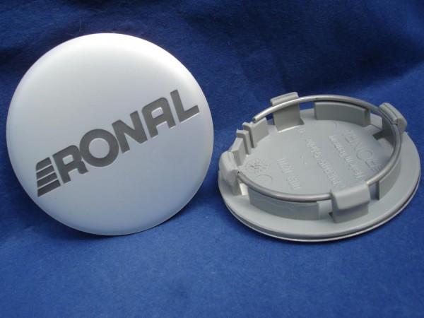 4er Set Ronal Nabenkappe 64mm Silbermatt/Schrift grau Typ: R-47 und R-48