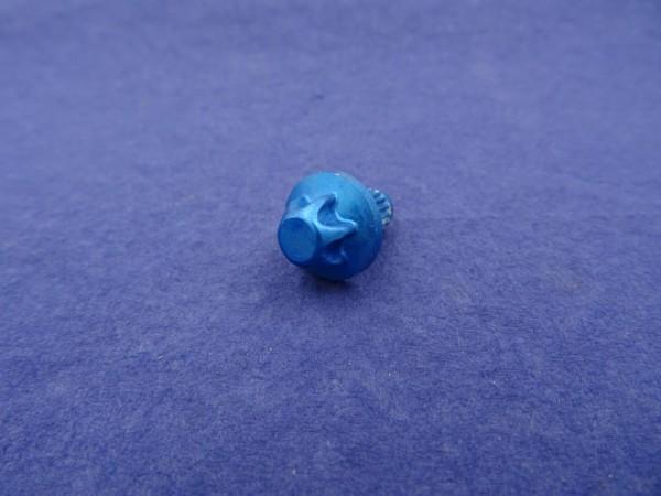 *Außentorx Zierstopfen Alu Blau elox. 6mm Schaft 14mm Kopf