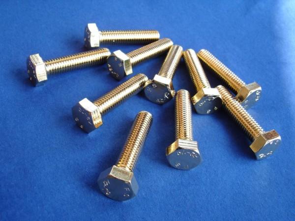 Sechskantschraube M8x35 Edelstahl vergoldet