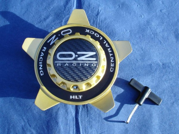 OZ Felgendeckel Gold + sw Ring 81210337 55mm Formular HLT Zentralverschluss Optik Centerlock M668