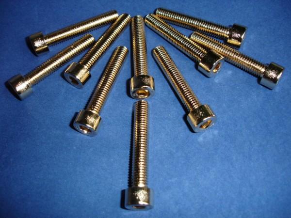 Innensechskant Schraube M8x45 Edelstahl vergoldet