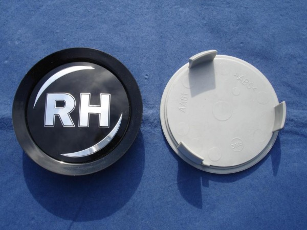RH Nabenkappe Schwarz + schwarzer Rand 74mm