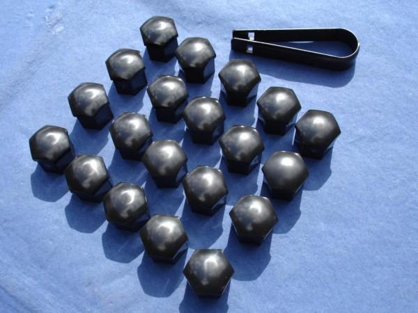 Radschrauben-Kappen Set SW 21 schwarz 20 Stück