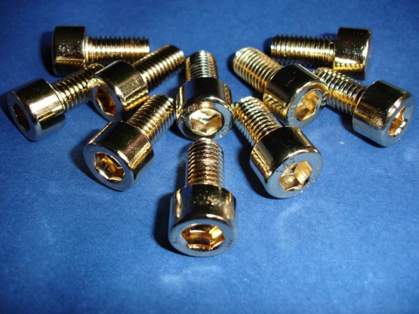 Innensechskant Schraube M10x20 Edelstahl vergoldet