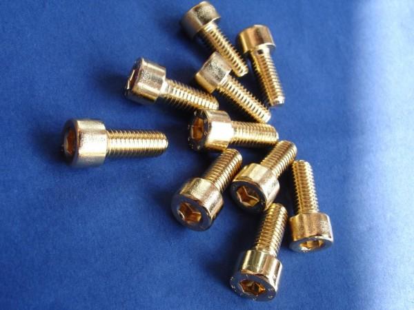 Innensechskant Schraube M8x25 Edelstahl vergoldet