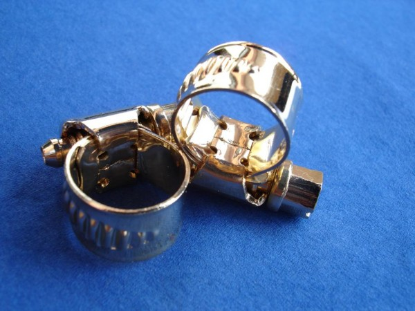 Schlauchschelle 8-12 mm Edelstahl vergoldet