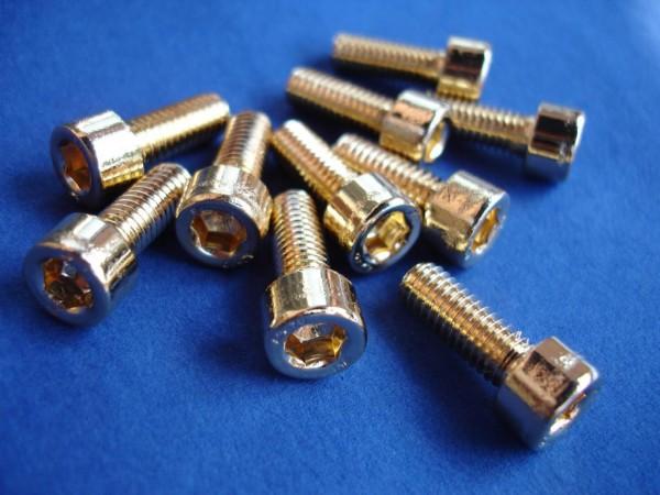 Innensechskant Schraube M6x16 Edelstahl vergoldet