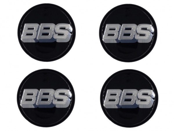 4er Set BBS Emblem Schwarz/Chrom 56mm 09.24.257 Nabenkappe, Symbolscheibe 10023596