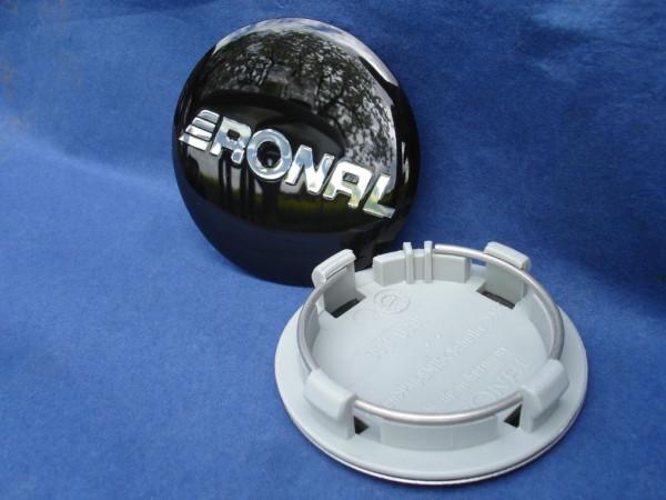 4er Set Ronal Nabenkappe 64mm Schwarz/Chrom Typ: R10, R7, R42