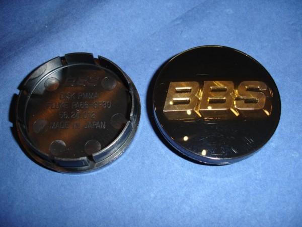 4er Set BBS Emblem Schwarz/Gold 56mm 3D 56.24.012 Nabenkappe, Symbolscheibe