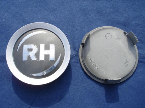RH Nabenkappe Anthrazit + silberner Rand 74mm
