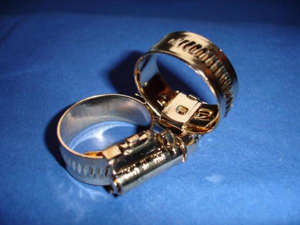 Schlauchschelle 16-27 mm Edelstahl vergoldet