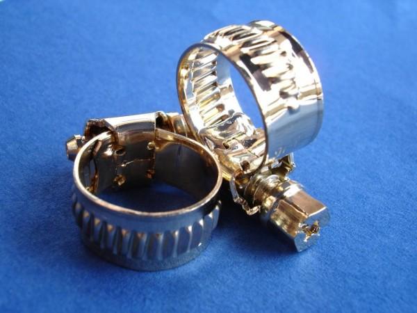 Schlauchschelle 10-16 mm Edelstahl vergoldet
