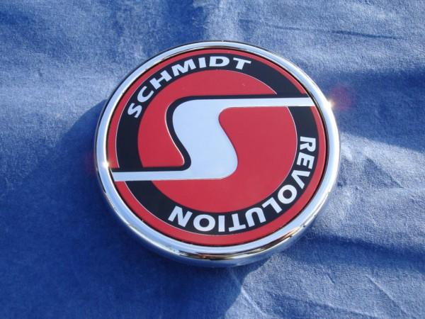 Schmidt Revolution flache Nabenkappe chrom-rot SC1