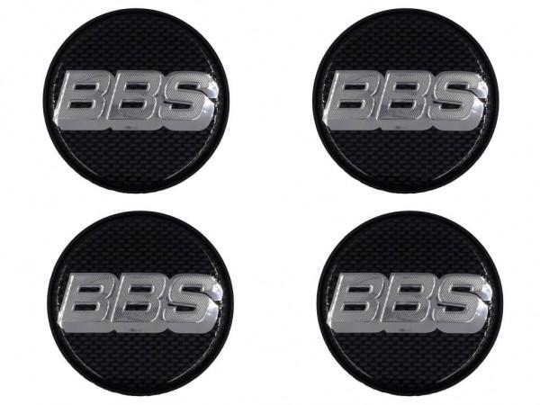 4er Set BBS Emblem Carbon/Chrom 56mm 09.24.281 Nabenkappe, Symbolscheibe 10023598